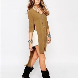 We The Free Bad Girls Olive Green Split Side Tunic